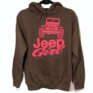 Jeep Girl Pink Graphic Gray Hoodie